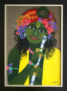 Krishna Painting - Acrylic on Bullet