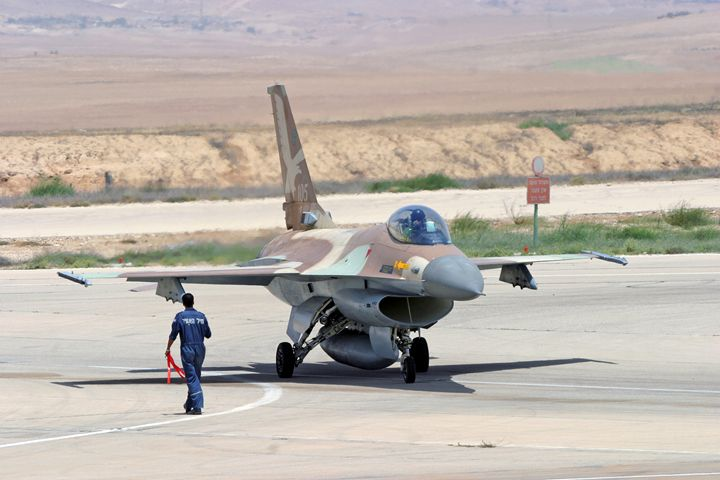 ground crew and IAF F-16 Fighter jet - PhotoStock-Israel