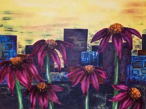 cone flowers in the city