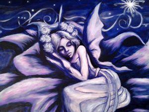 Blue Fairy Sleeping in a Flower