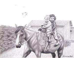 Two Children on Horseback
