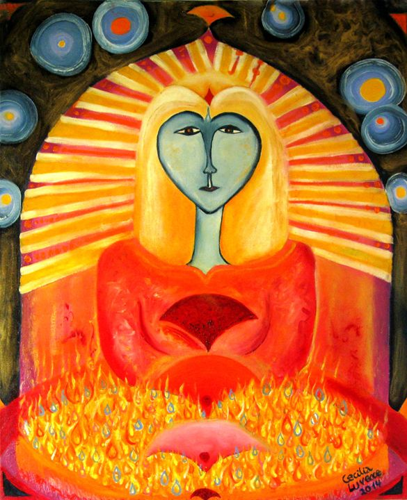 Amaterasu, Shintoist solar goddess - HEART DREAMING PAINTINGS