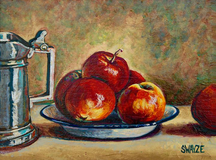 Apples, Bowl, and Pewter Tankard - SwayzeArt