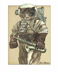 Space Cat with Saxophone