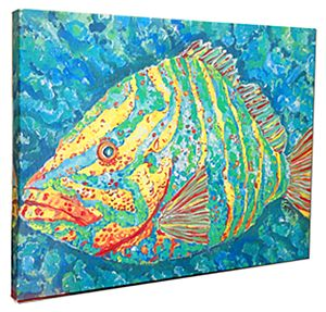 Striped Grouper on Canvas, 24 x 36""