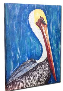 Whimsical Pelican Canvas, 24 x 36""