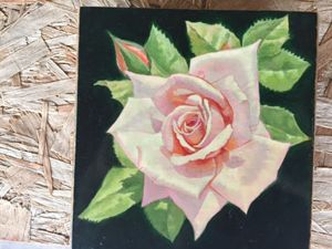 Rose hand painted on wooden box.