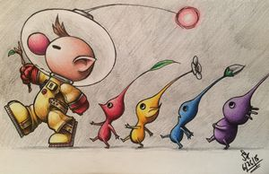 Olimar and Pikmin