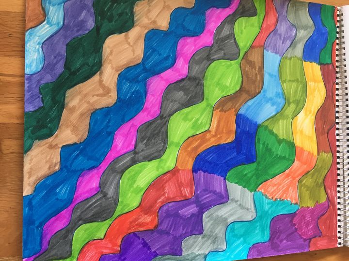 Wavy rainbow lines - Shapes of color