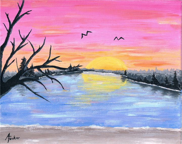Warm Pink Sunset - ATuckerDesigns