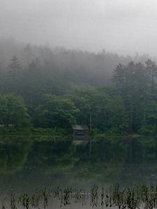 Fishing shack on misty morning
