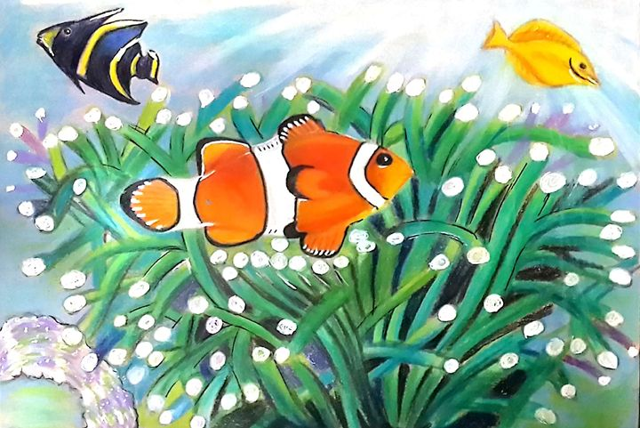 Clown Fish & Yellow Tang Painting - Vaibhav Salvi
