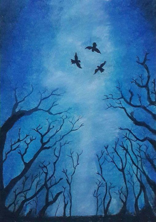 Forest at Night Painting - Vaibhav Salvi
