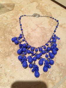 ocean blue cascading beaded necklace