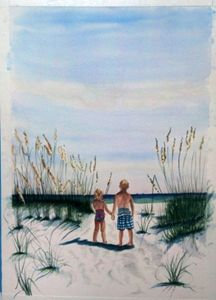 Brother Sister on Beach  SOLD