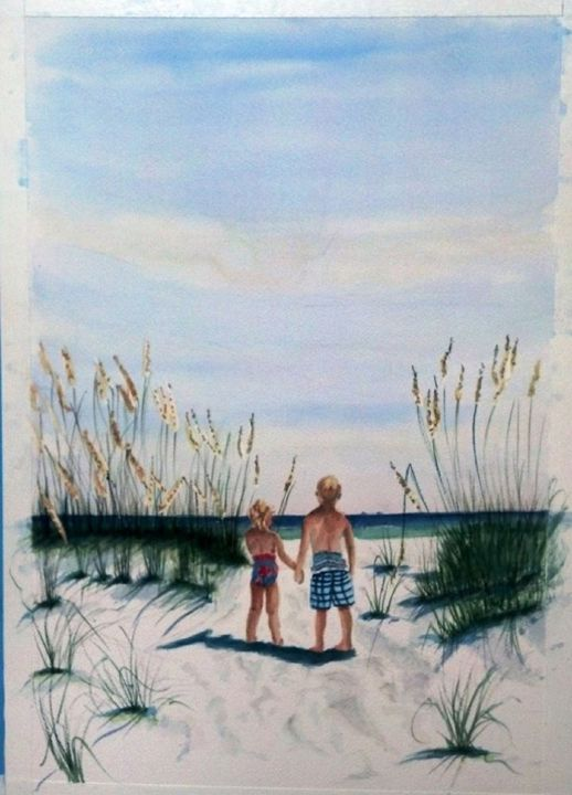 Brother Sister on Beach  SOLD - Richard Benson's Watercolors