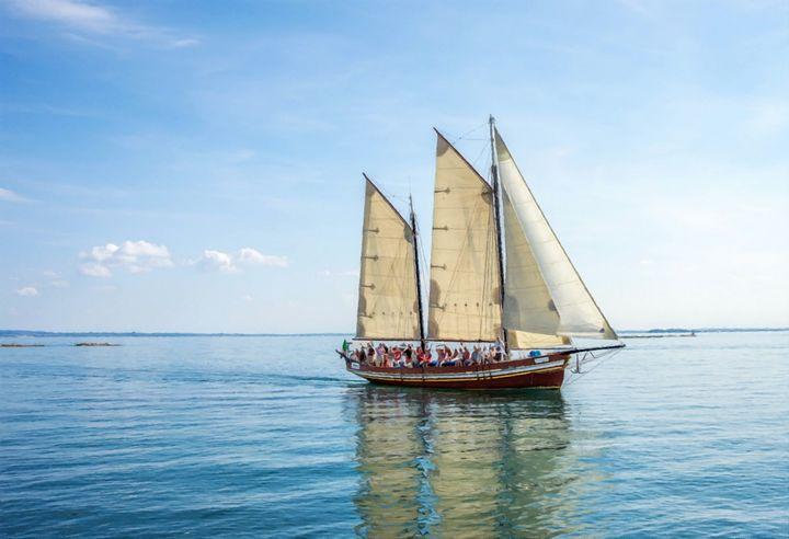 Sailboat Blue Water Seascape - Rogue Art