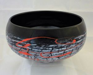 black and white w/ red crackle bowl