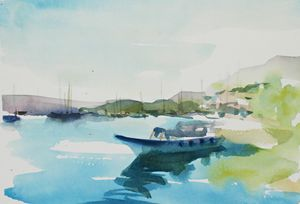 Watercolor Summer  day in a Turkish