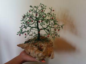 Beaded Wire Tree - Green Apple Tree - Beaded Wire Tree Bonsai Art