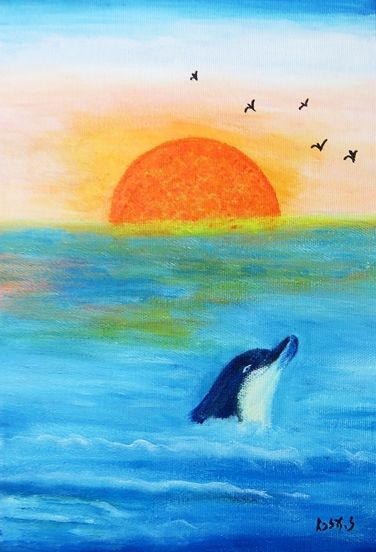 Dolphin at sunset - Ezra Zaarur