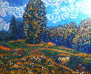field and trees painting
