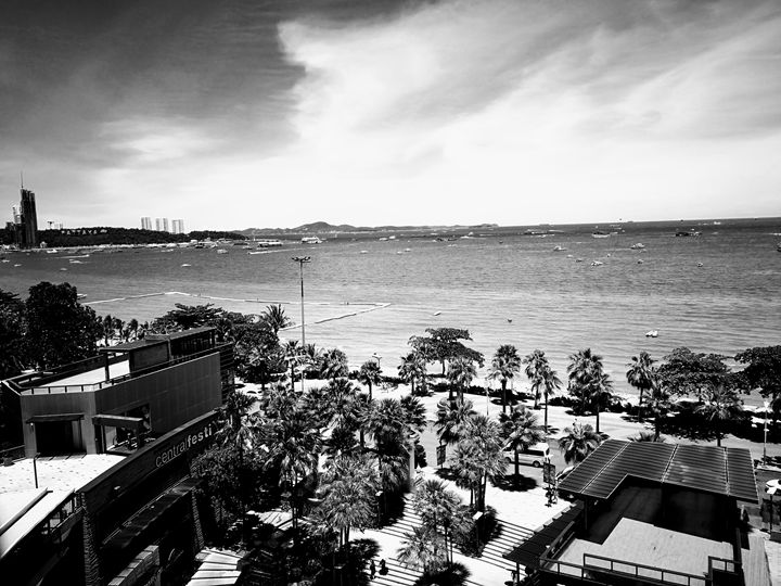 Pattaya Beach View from Central KFC - Thailand Bangkok