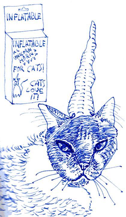 Unicorn Horn For Cats Sketch - Darkvine Art