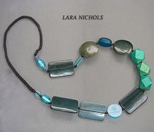 Turquoise wood necklace