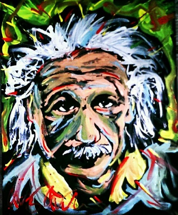 Albert Einstein 16x20 Painting - WesleyWalkerFineArt