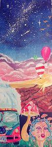 Psychedelic hippie van painting