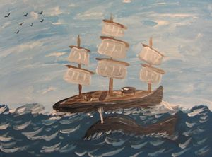 Tall ship with whale