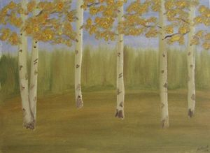 Grove of aspens done in oil
