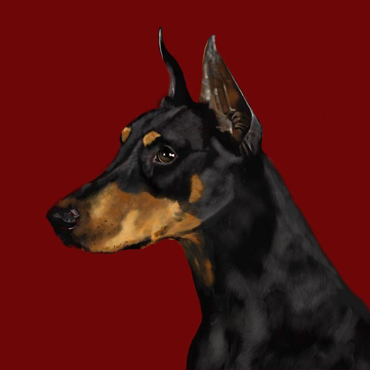Doberman Pinscher on Red - Dogone Art