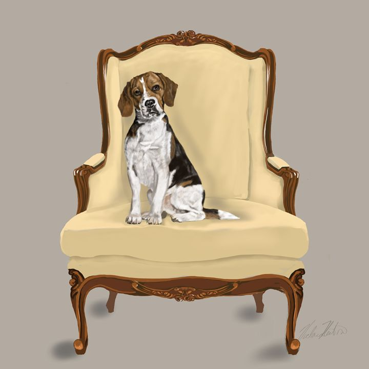 Beagle Sitting Pretty - Dogone Art