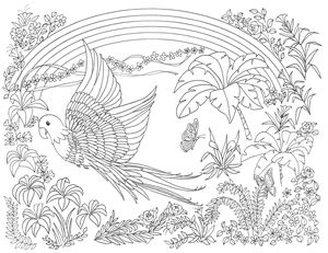Tropical Parrot ready to color