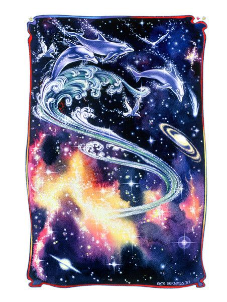 Celestial Dolphins - kateburnessart