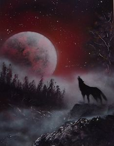 Autumn Howling Wolf - Rattle Can Spray Paint Art: By Mark Loehr