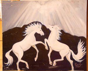 White horses, oil painting