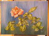 Red rose, oil painting, canvas
