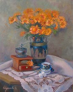 Still life with blue cup.