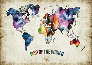 Watercolor art print 'World Map'