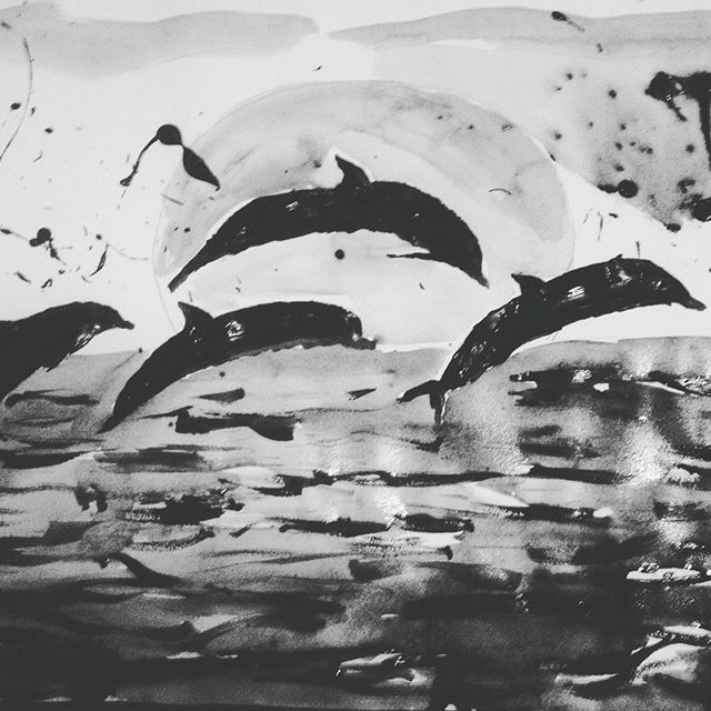 Dolphins Silhouette - LOVE Art Wonders (NickysArt)