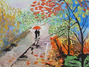 Romantic Walk in Rain