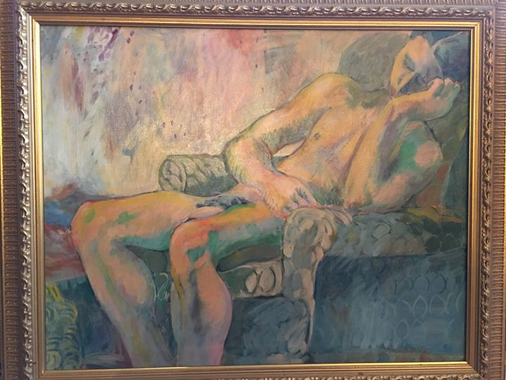 Nude Man in Chair by Jane Brown - Material Possessions