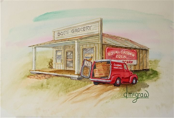 Doc's - McGraw original art watercolors/oils