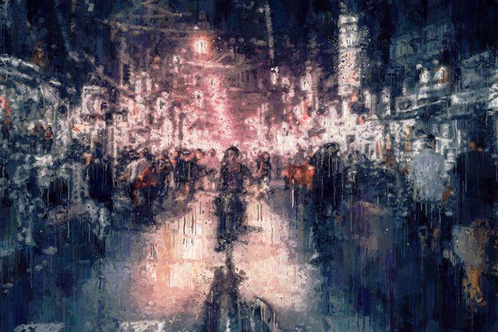 Saigon street at night impressionism - hanoh iki