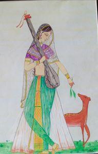 Lady with the deer - kangra art