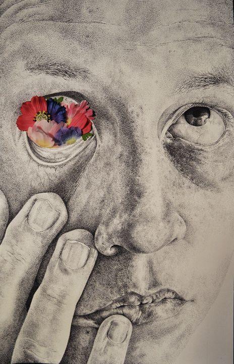 self-portrait with flowers - Jim Haller Fine Art