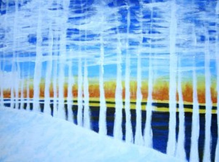 White trees by the lake - George Hunter Contemporary Artist